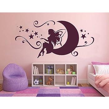 Tjapalo 120 Cm Pkm71 Wandtattoo Madchen Baby Mondfee Wandtattoo Prinzessin Kinderzimmer Fee Auf Dem Mond Sterne Violett Amazon De Baumarkt