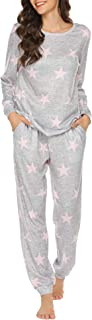 Womens Pajama Set Long Sleeve Sleepwear Star Print Cotton...