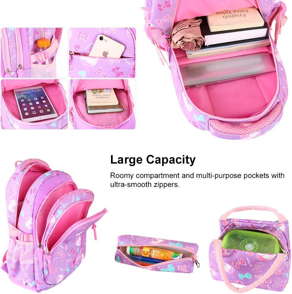 Vbiger Girls School Bags Primary Kids Backpack Waterproof Lightweight Backpack Book Bag with Pen Case Lunch Bag Purple