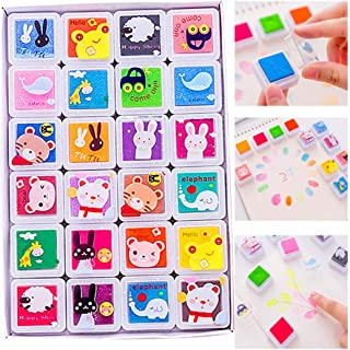 Fingerprint Ink Pad,24 Color Water Soluble Rainbow Craft Ink Pad,for DIY Fabric, Wood,Paper, Scrapbooking Card-Making Finger Paint and Stamps
