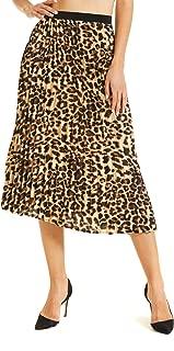 Women's Printed Pleated Pull-on Midi Skirt Plus Size