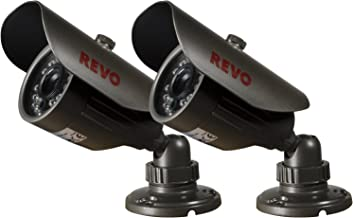 REVO America RCBS30-2ABNDL2 660 TVL Indoor/Outdoor Bullet Surveillance Camera with 80-Feet Night Vision (Gray), 2- Pack
