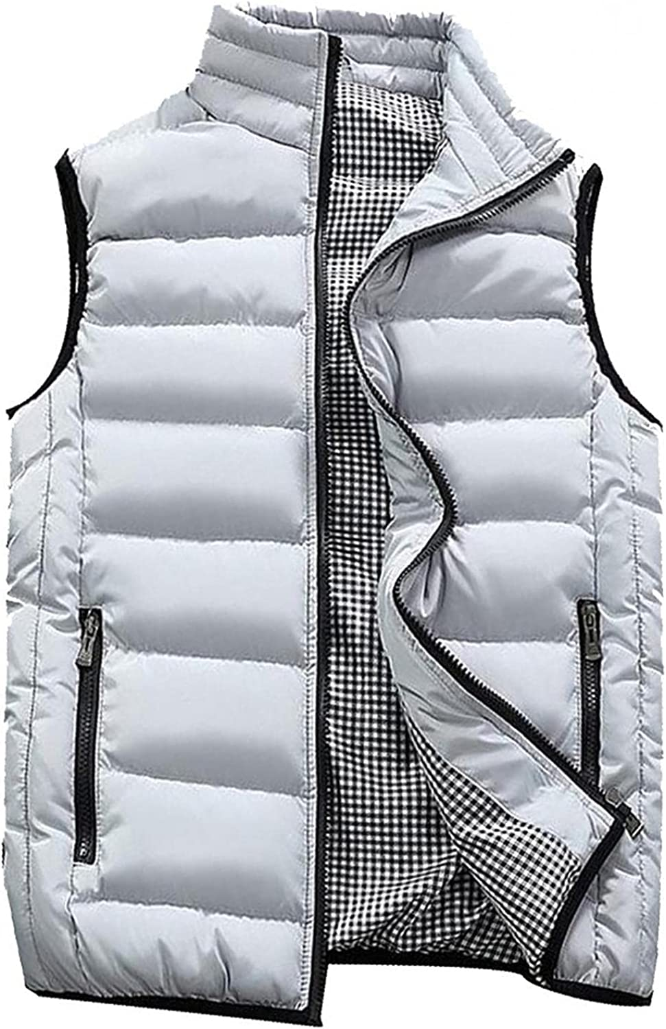 Beshion Men's Outdoor Vest Padded Coat Winter Warm Puffer Sleeveless Jacket Thick Vest Lightweight Outwear with Pocket