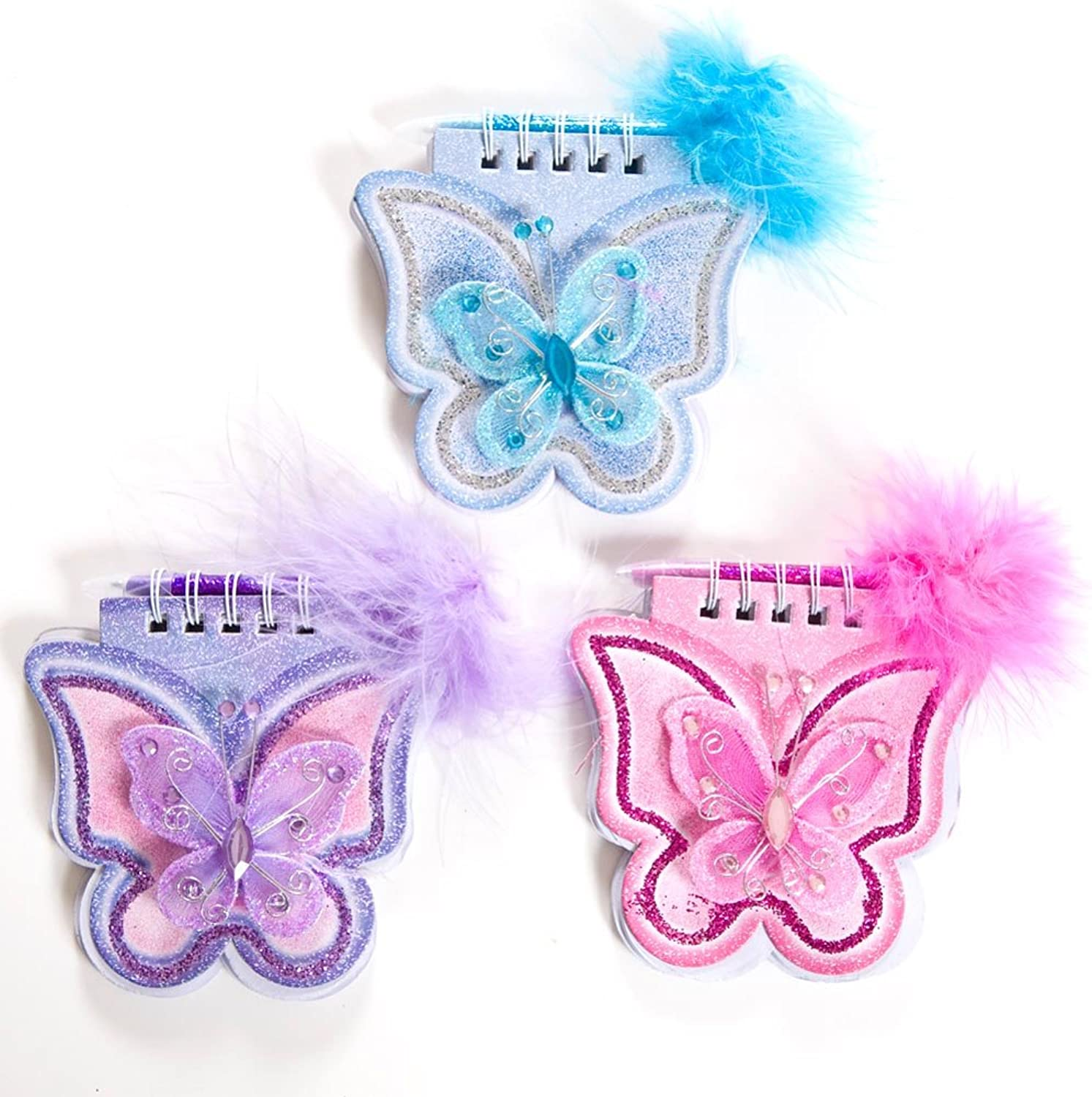 Lot Of 12 Assorted color Mini Butterfly Glitter Notepads With Feather Boa Pens