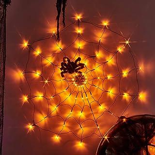 Vanthylit 3.25FT Diameter 70LED Halloween Spider Web Lights Orange Lights with Black Spider for Halloween Indoor and Outdo...