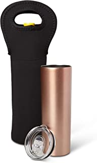 Stainless Steel Tumbler With Wine Carrier - 20 OZ Travel Tumblers - 20 OZ Water Smoothie Coffee Ice Tea Travel Mug - Insulated Tumbler - Metal Drink Bottles - 20 Ounce Coffee Mug -Gift- Rose Gold
