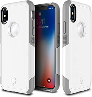 PATCHWORKS iPhone X, XS Case for Apple iPhone X, XS, [Level Aegis Series] Hard Side Grip [Anti Slip] Anti Scratch [TPU + PC] [Heavy Duty Protection] [Military Drop Test Certified], White/Grey