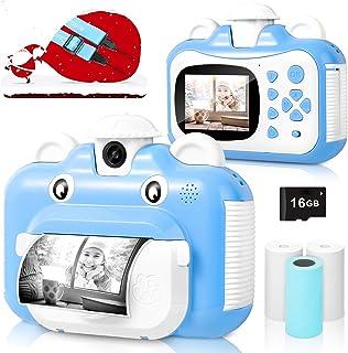Kindercamera, wifi print camera voor kinderen, 1080p HD videocamera met 2,4 inch scherm, instant camera zwart-wit fotocame...