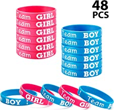 Gender Reveal Bracelets, Includes 24 Pieces Team Boy Wristbands and 24 Pieces Team Girl Wristbands for Baby Shower Party G...
