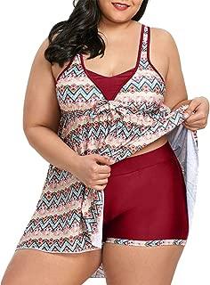CharMma Women's Plus Size Two Piece Swimwear Zigzag Skirted Tankini Set
