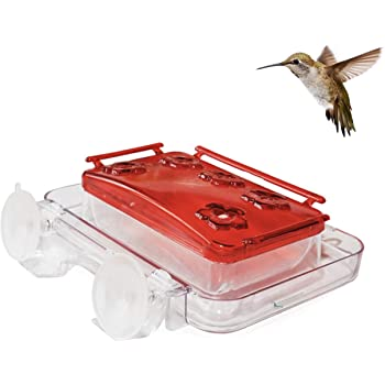 Sherwoodbase Cuboid - Insect-Proof Window Hummingbird Feeder, with Ant Moat, Bee Guards, Detachable Lid, Easy Cleaning & Refills, Bonus Chains for Hung on Tree Style, and Free Cleaning Brush, 8 oz