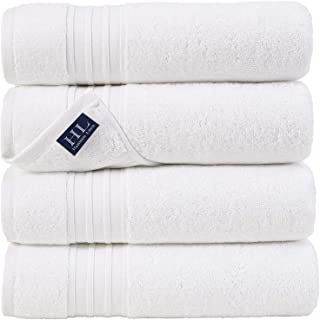 Hammam Linen 100% Cotton 27x54 4 Piece Set Bath Towels White Super Soft, Fluffy, and Absorbent, Premium Quality Perfect fo...