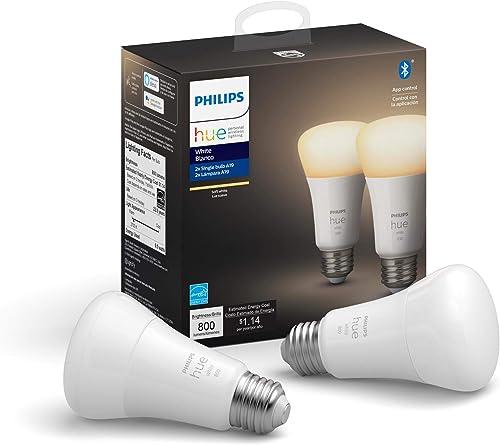 Philips Hue White 2-Count A19 LED Smart Bulb, Bluetooth & Zigbee compatible (Hue Hub Optional), Works with Alexa & Go...