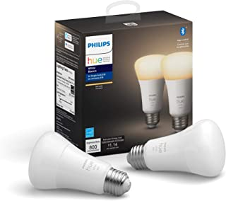 Philips Hue White 2-Pack A19 LED Smart Bulb, Bluetooth & Zigbee Compatible (Hue Hub Optional), Works with Alexa & Google A...