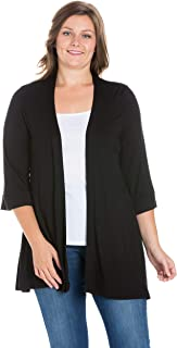24seven Comfort Apparel Womens 3/4 Sleeve Open Front Cardigan - Made in USA - (Sizes S-6XL) Machine Washable