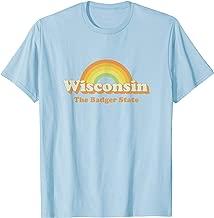 Retro Wisconsin T Shirt Vintage 70s Rainbow Tee Design