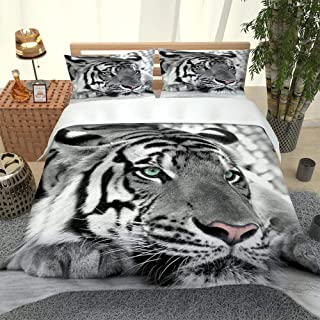 SFFLILY Parures De Lit Sets 220X240Cm Tigre Animal Noir Et Blanc Microfibre 2 Taie d'oreiller Housse De Couette Adulte, Ho...