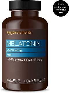 Amazon Elements Melatonin 5mg, Vegan, 195 Capsules, 6 month supply (Packaging may vary)