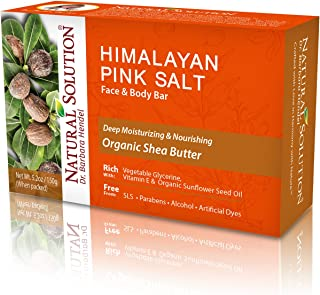 Natural Solution Himalayan Pink Salt Soap Bar,Moisturizing And Organic Bar Soap,Shea Butter - 5.2 oz