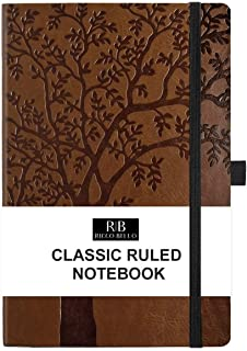 RICCO BELLO College Ruled Hardcover Journal - Vegan Leather, Elastic Closure, Pen Loop, Bookmark, Inner Pocket, 192 Lined Pages, 5.7 x 8.4 inches (Art Tree)