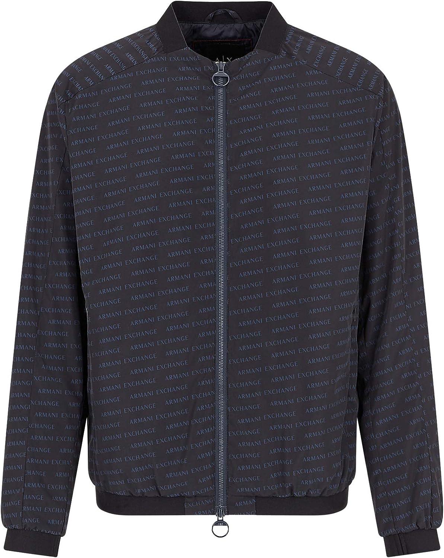 AX Armani Exchange Men's Oblique Logo Print Zip Up Bomber Jacket