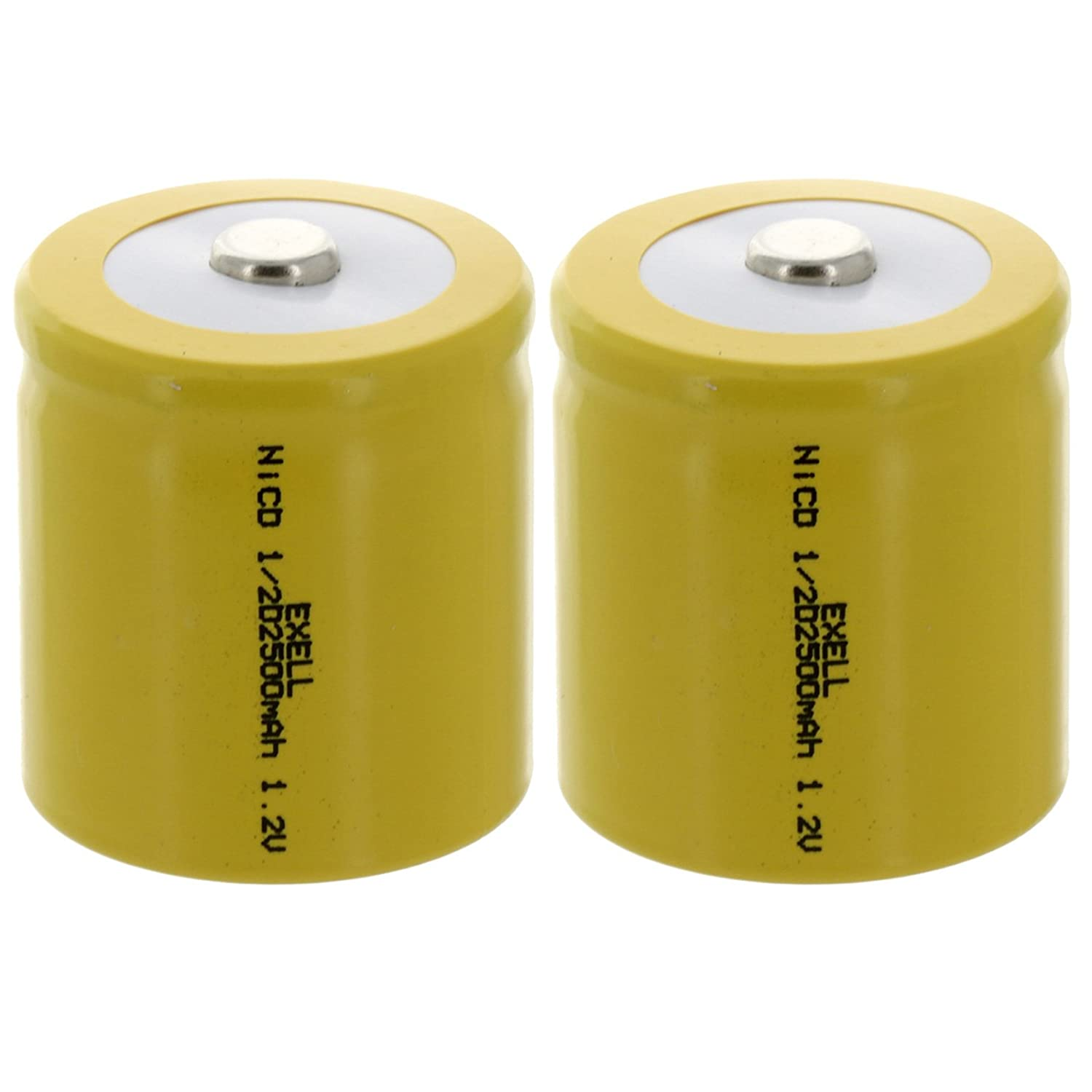 2x Exell 1/2D Size 1.2V 2500mAh NiCD Button Top Rechargeable Batteries for meters, radios, hybrid automobiles, high power static applications (Telecoms, UPS and Smart grid), RC devices