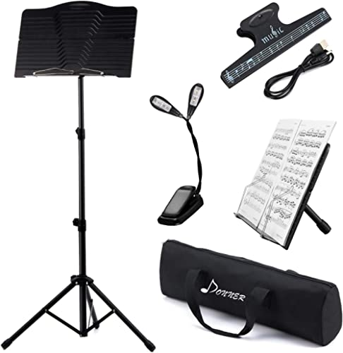 Donner Sheet Music Stand with Light, DMS-1 Portable Metal Ipad Music Stand, Tabletop Music Book Stand for Guitar, Uku...