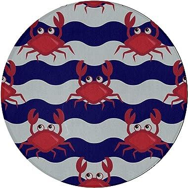 Tapis de chambre pour enfants océan mer sous-marin mignon crabe chambre chambre tapis 2ft rond antidérapant microfibre lavabl