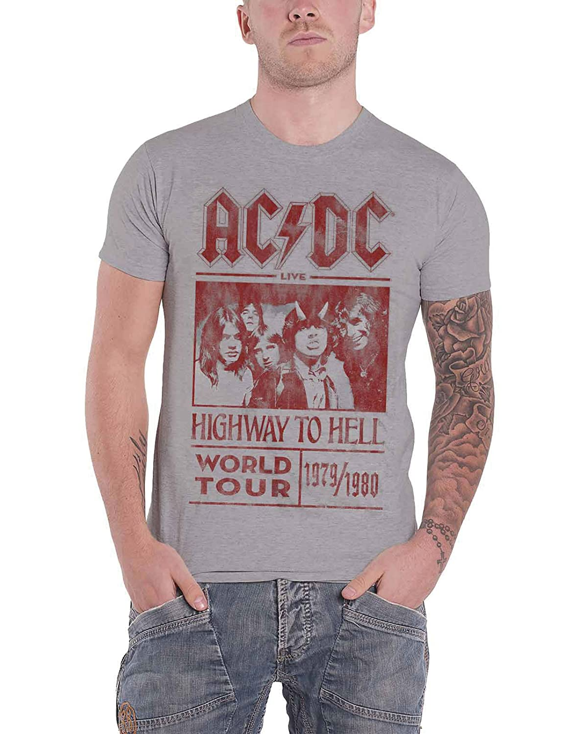 Ac/Dc T Shirt Highway To Hell World Tour 1979/1980 新しい 公式 メンズ グレー