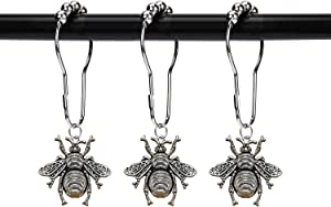ZILucky Set of 12 Bee Shower Curtain Hooks Rings Garden Insect Flowers Spring Theme Bathroom Decor (Silver)
