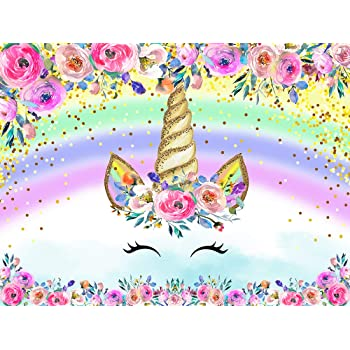 OERJU 12x10ft Unicorn Backdrop Colorful Floral Baby Birthday Photography Background Newborn Baby Shower Cake Table Banners Girls Unicorn Theme Birthday Party Decor Girl Room Decor Walpaper