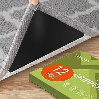 12 Pcs Rug Gripper, Non Slip Rug Grippers for Hardwood Floors and Tiles Floors, Reusable Rug Tape for Area Rugs (Black)