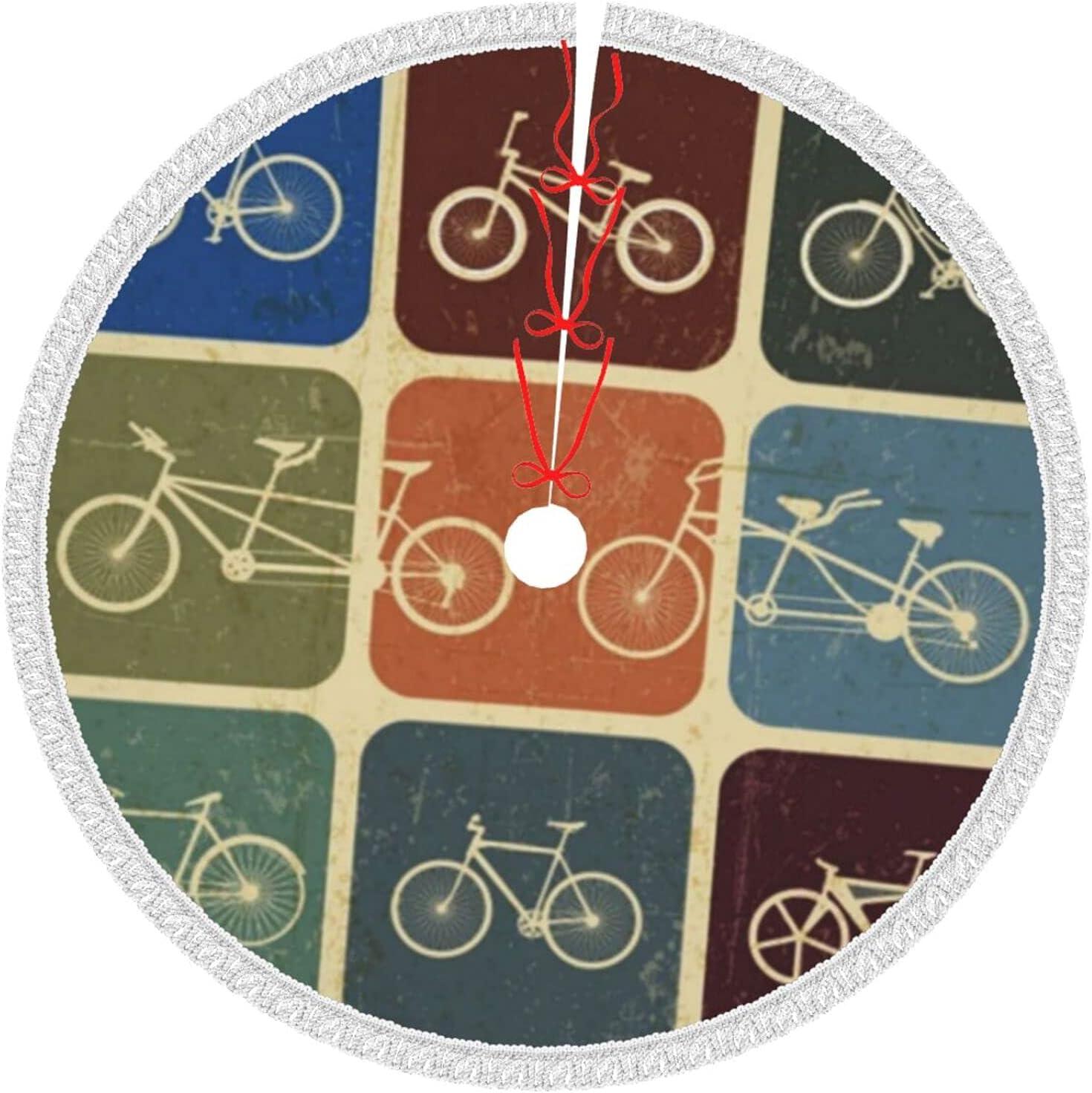 Vintage Bicycle Christmas Tree Skirt Ornaments Xmas Tassel 35% cheap OFF Trim