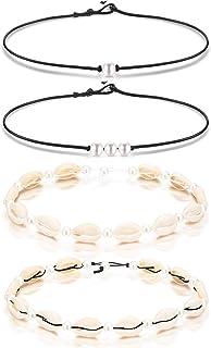 1809170610a37 Blulu Collier Tour de Cou à Une Perle 3 Perles Collier Unique Pierre  Précieuse/Tour