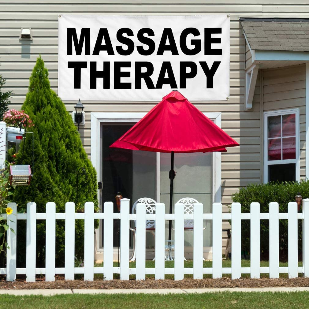Vinyl Banner Multiple Sizes Massage Therapy Black Business Outdoor Weatherproof Industrial Yard Signs 10 Grommets 60x144Inches