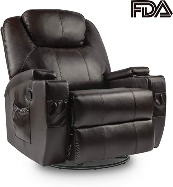 Lauraland Recliner Chair PU Leather Massage Recliner Ergonomic Lounge Heated 360 Degree Swivel Recliner Sofa For Living Gaming Room Brown