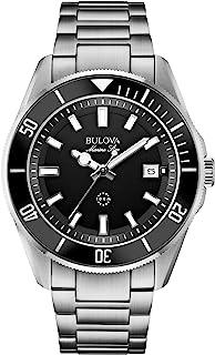 Bulova - para Hombre Reloj de Acero Inoxidable de Marina Estrella de la Esfera y el Bisel Negro 98b203