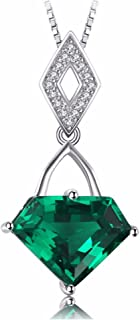 Resplendent 4.5Ct Green Synthetic Emerald Triangle-Shape Sterling Silver Pendant Necklace with 18-inch Box Chain