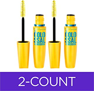 Maybelline Volum' Express The Colossal Waterproof Mascara Makeup, Volumizing No Clump Mascara, Glam Black, 2 Count