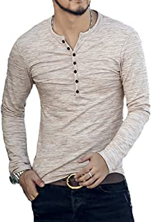 CLANMILUMS Men's Casual Slim Fit Long Sleeve Henley T-Shirts Cotton Shirts