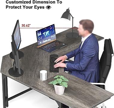 Teraves Modern L Shaped Desk with Shelves,Computer Desk/Gaming Desk for Home Office,Corner Desk with Large Desktop (Black Oak