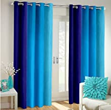 Cozyland Long Crush Solid 2 Piece Polyester Door Curtain Set - 7ft, Blue
