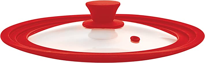 The World's Greatest Universal Pot Lid and Microwave Cooking Cover, Red, Tempered Glass and Silicone, Fits Bowls and Cookw...