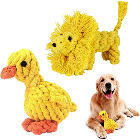 Tooth Training//Cleaning Toy Dog Birthday Gift Set 2PCS Dog Rope Toy Puppies Chew Natural Cotton Rope Toys To Avoid The Puppies Boredom and Anxiety