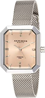 Akribos Xxiv Dress Watch Analog Display Japanese Quartz Movement For Women Ak909Sspk, Silver Band, Stainless Steel Strap