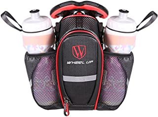 MOOZO Water Bottle Bag, Waterproof Rear Under Seat Bike Saddle Bag, Double Bottle Pouch Bicycle Tail Pocket with Reflective Strip for MTB Mountain City Road Bike Water Bottle/Repair Tools Kit