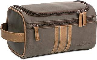 Vancase Toiletry Bag for Men Vintage Leather Dopp Kit Hanging Shaving Bag Portable Bathroom Shower Organizer for Travel Accessories (Brown)