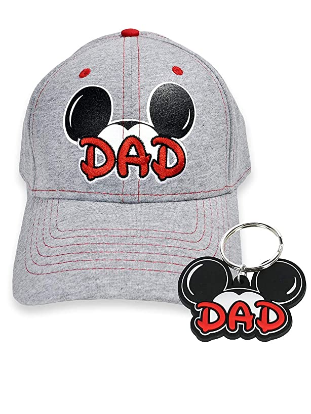 2 Pack Mickey Mouse Dad Hat & Key Chain Men's Baseball Cap Father's Day Gift Set