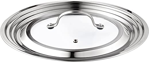 Cook N Home Stainless Steel with Glass Center Universal Lid, Fits 8, 10.25, 11, and 12-Inch