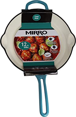 "Mirro MIR-19061 12"" Cast Iron Skillet, 12 Inch, Teal"